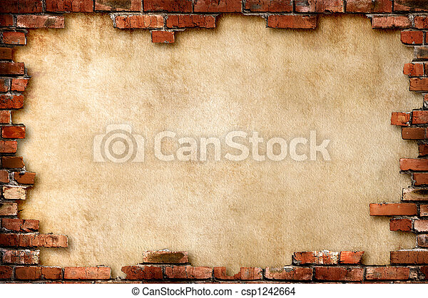 pared,  Grungy, ladrillo, marco - csp1242664