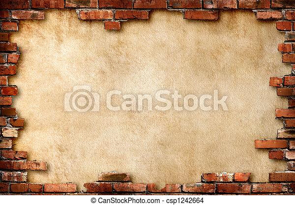 Wand,  grungy, mauerstein, Rahmen - csp1242664