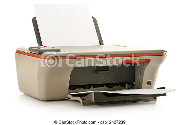 Computer printer isolated on white background - csp12427239