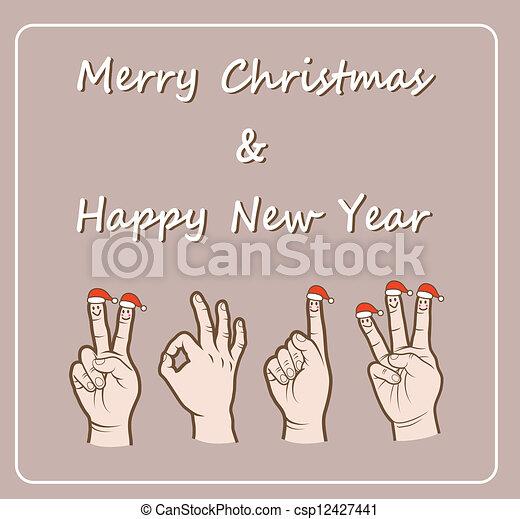 santa, dedo, mão, sinais - csp12427441