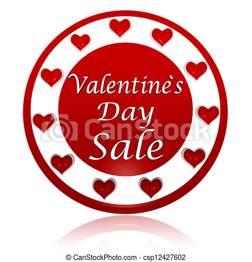 valentines day sale red circle banner with hearts symbols - csp12427602