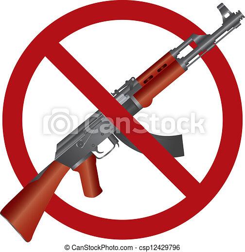 asalto, rifle, Ak, 47, arma de fuego, prohibición, Ilustración - csp12429796