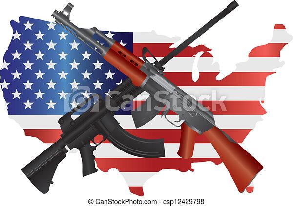 Assault Rifles with USA Map Flag Illustration - csp12429798