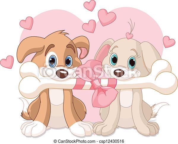 Two Valentine dogs - csp12430516