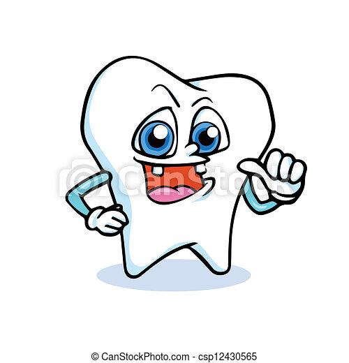 Clip Art Vector of funny cartoon tooth - a cartoon tooth's ...