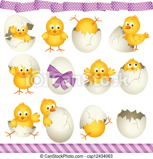 Easter eggs chicks - csp12434063