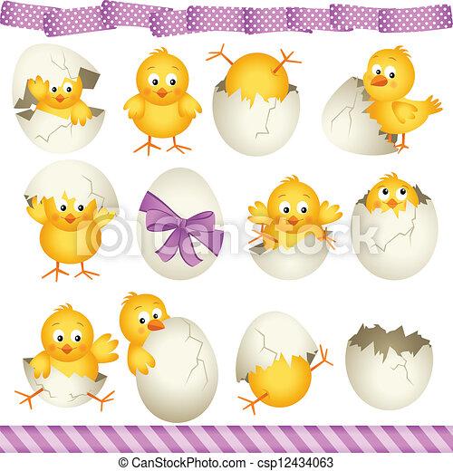Easter eggs chicks - csp12434063