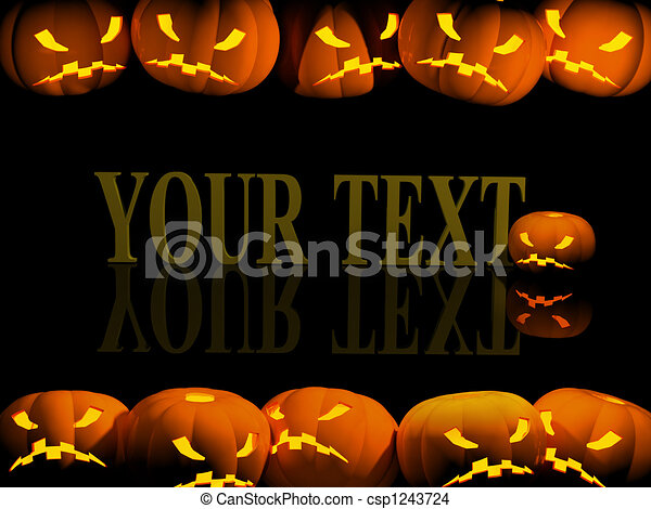 Halloween background with evil pumpkins - csp1243724
