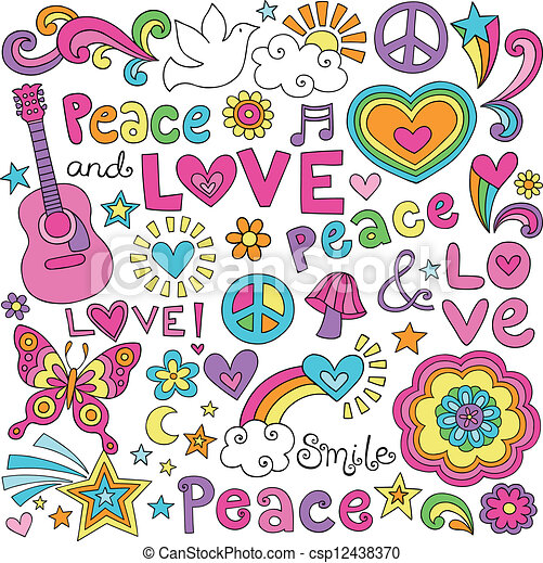 Vectors Illustration Of Peace Love Music Groovy Doodles