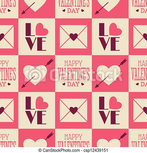 Vintage Valentine Seamless Pattern - csp12439151