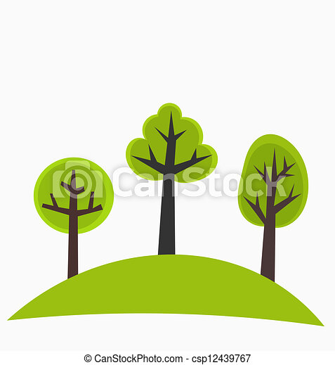 Clip Art Vector of Trees on hill - Trees on the hill - green vector ...