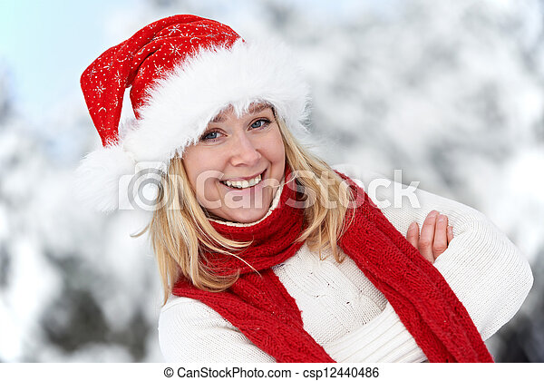 happy young adult woman at winter - csp12440486
