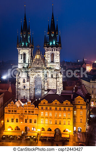 Tyn Church, landmark of Prague old city - csp12443427