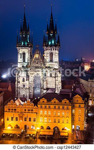 Tyn Church, landmark of Prague old city - csp12443427