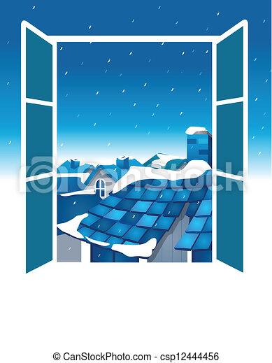Vecteur clipart de ouvert fen tre bleu ciel toit for Regarder par la fenetre