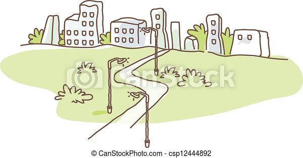City skyline and path - csp12444892