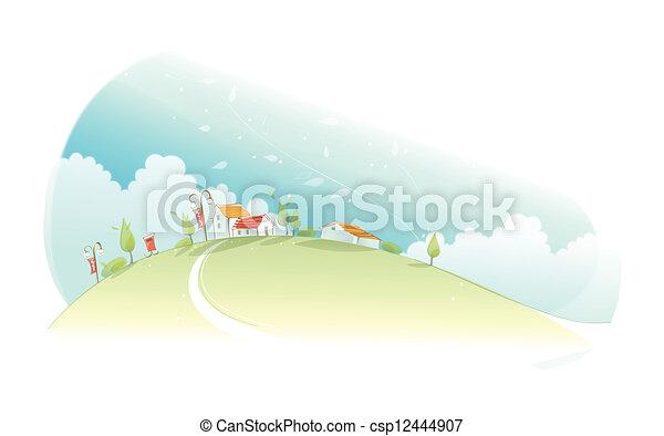 Rural houses on green mountain - csp12444907
