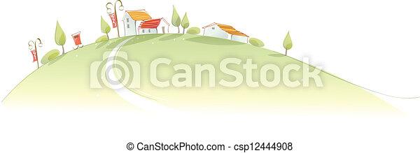 Rural houses on green mountain - csp12444908