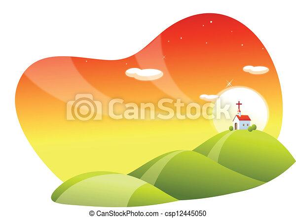 landscape and church - csp12445050