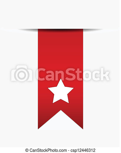 Vector Clip Art de cola cinta estrella rojo blanco  White