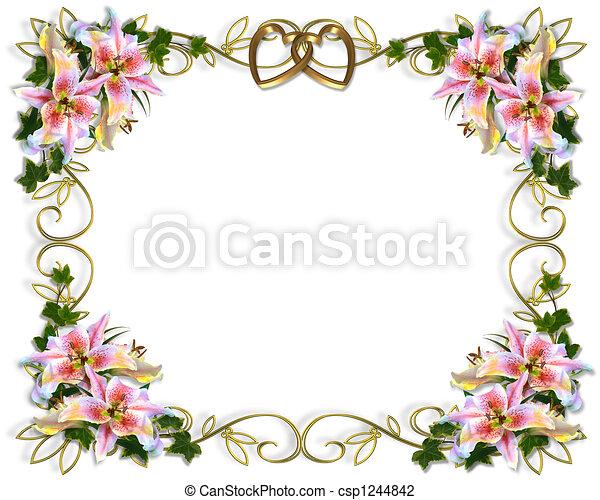 Stock Illustration Lily Floral Wedding Invitation