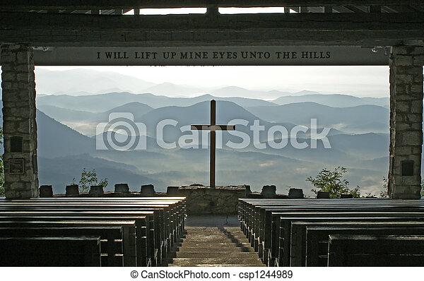Church with a view of the mountains. - csp1244989