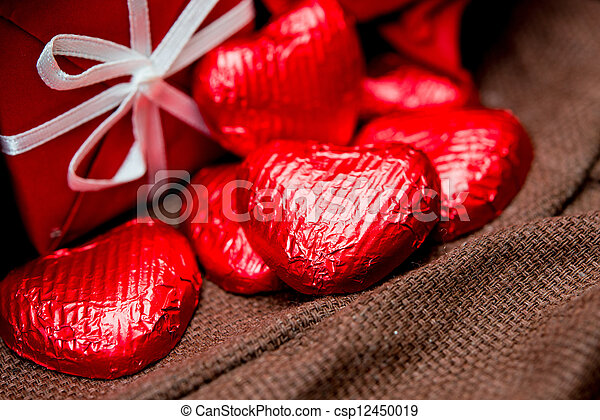 chocolate, gift box and flowers for Valentine's day - csp12450019