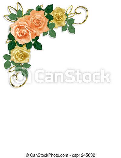 rosas, boda, plantilla, invitación - csp1245032
