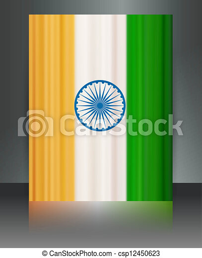Indian flag brochure tricolor reflection vector design - csp12450623