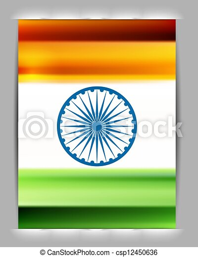Indian flag shiny colorful design vector - csp12450636