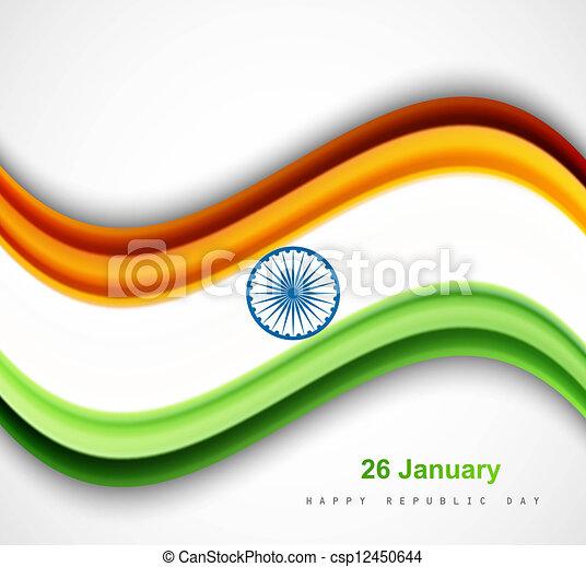 beautiful shiny indian flag wave vector design art - csp12450644