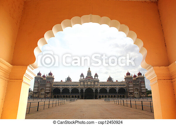 View of beautiful & historical mysore palace from an arch. The palace is a historic monument located in mysore in south karnataka, India and is a huge tourist attraction. - csp12450924