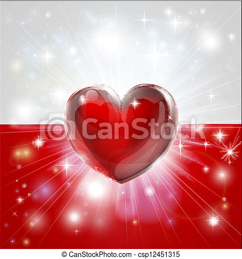 Love Poland flag heart background - csp12451315