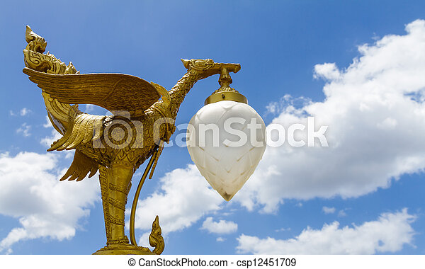 Golden Swan Thai style, All the decorative arts in religion, church, temple hall, statues, paintings, murals, no restrictions in copy or use. - csp12451709