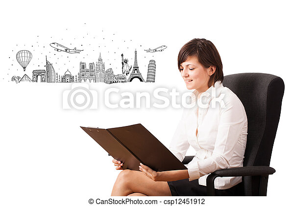 Young woman presenting famous cities and landmarks - csp12451912