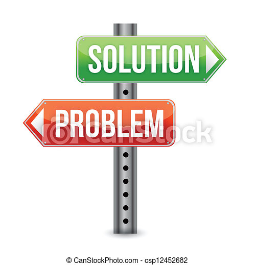 problem solution road sign illustra - csp12452682