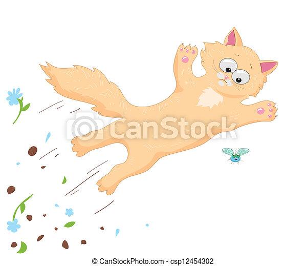 Vector Clip Art de gato, mosca - jengibre, gato, Saltar, encima ...