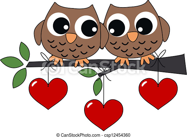 Clip Art Vector of two sweet owls in love - valentines day ...