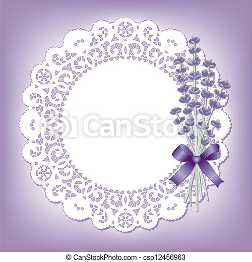Clip Art Vector Of Vintage Lace With Sweet Lavender