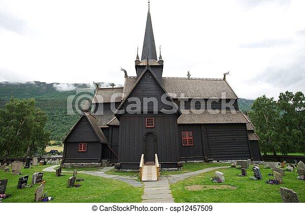 Stave church (Stavkirke) in Norway - csp12457509
