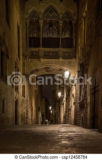 Bridge at Carrer del Bisbe  in Barri Gotic, Barcelona - csp12458784