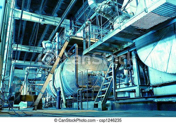 Pipes, tubes, machinery and steam turbine at a power plant - csp1246235