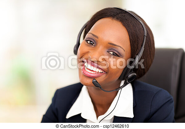 African American call center operator
