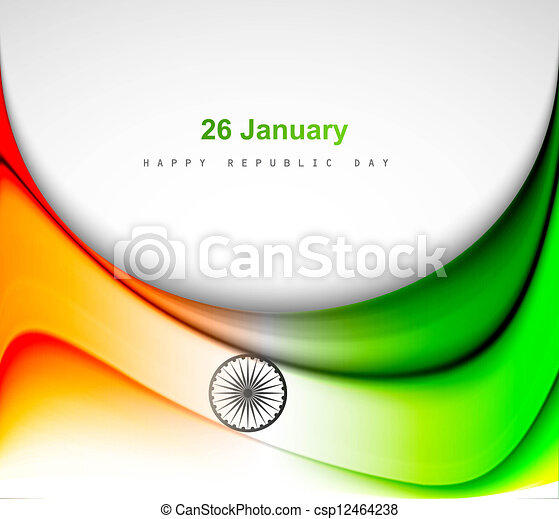 Indian flag background with wave fantastic design vector - csp12464238