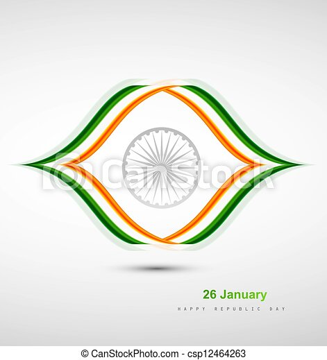 Indian Flag design with stylish wave vector - csp12464263