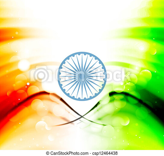 India flag illustration wave background Vector design art - csp12464438
