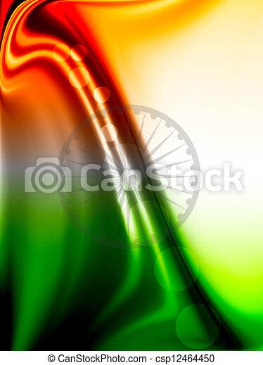 Fantastic colorful indian flag wave vector design art - csp12464450