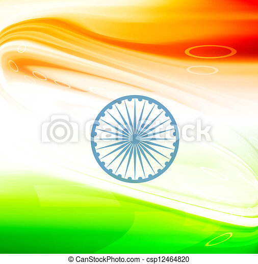 vector stylish indian flag wave design - csp12464820