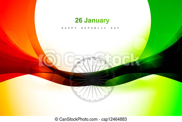 Indian flag for shiny wave vector design - csp12464883