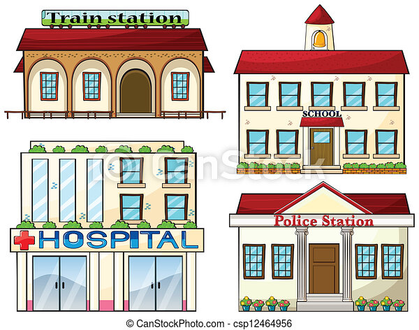 A train station, a school, a police station and a hospital - csp12464956